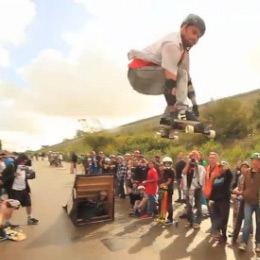Brian Bishop takes on the Ramp at the Muir Skate Downhill Disco 2012